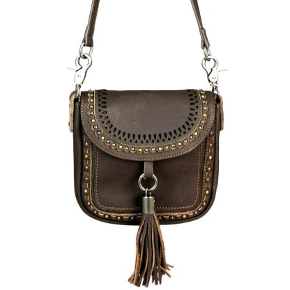 Montana West Genuine Leather Handcrafted Crossbody Handbag Coffee Flap w Tussle