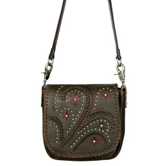 Montana West Genuine Leather Handcrafted Crossbody Handbag Coffee Paisley Flap w charger