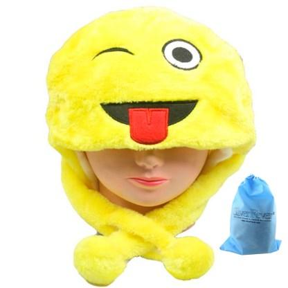 SILVERFEVER Plush Soft Animal Beanie Ski Hat Emoji Wink & Tongue
