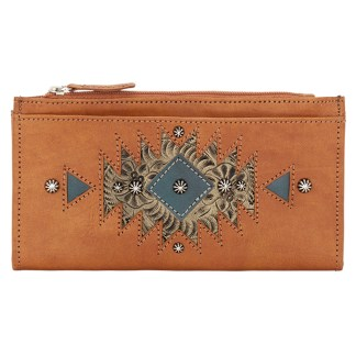 American West Leather Ladies' Tri-Fold French Wallet  Golden Tan Sand Blue