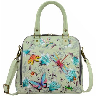 Anuschka Convertible Satchel- Hand Painted Real Leather Handbag Wondrous Wings