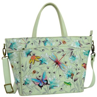 Anuschka  RFID Organizer Tote Handbag Handpainted Leather Wondrous Wings