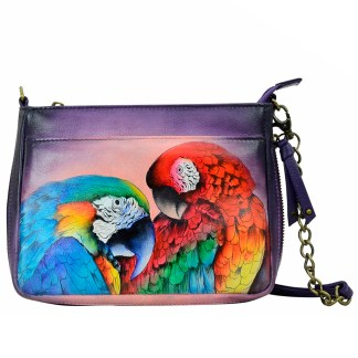 Anuschka  Compact Crossbody Handpainted Leather Rainfores Royalty