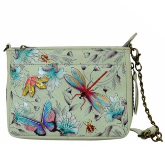 Anuschka  RFID Crossbody Organizer Handbag Handpainted Leather Wondrous Wings