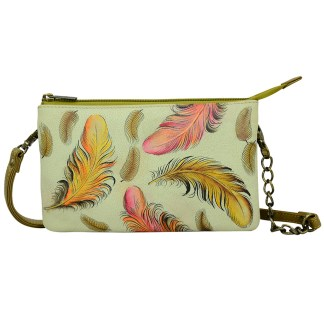 Anuschka  Compact Crossbody Handpainted Leather Floating Feathers Ivory