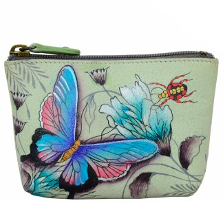 Anuschka Genuine Leather Coin Zip-Up Pouch Hand Painted Wondrous Wings