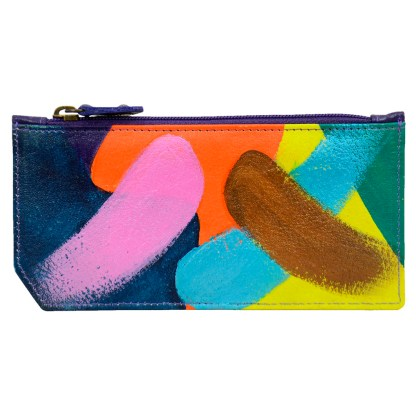 Anuschka RFID Credit Card Coin Wallet Genuine Handpainted Leather Painterly Palette