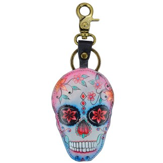 Anuschla Leather Handpainted Key Chain Purse Charm Calaveras de Azucar