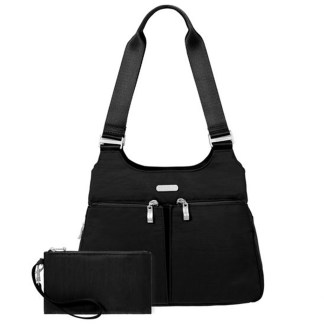 Baggallini Triple Entry Satchel with RFID Wristlet, Black w Sand Lining