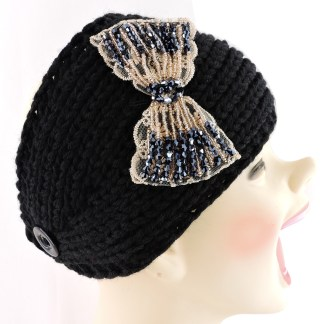 Silver Fever® Women Chunky Knitted Headband  Hair Band Head Wrap Earmuff Black with Floral Bow
