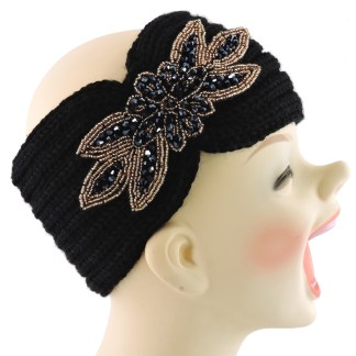 Silver Fever® Women Chunky Knitted Headband  Hair Band Head Wrap Earmuff Black with Sequenced Floral