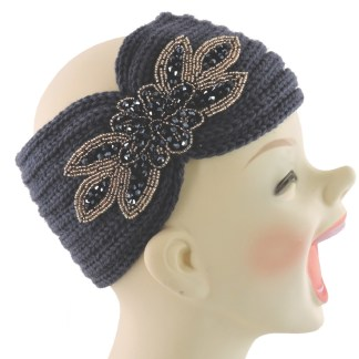 Silver Fever® Women Chunky Knitted Headband  Hair Band Head Wrap Earmuff Charcoal with Sequenced Floral