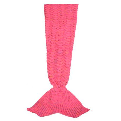 SILVEREFEVER Handmade High Density Thick Mermaid Blanket, Soft Warm for All Seasons, Sweet Gift - Pink Fish Scale Knit