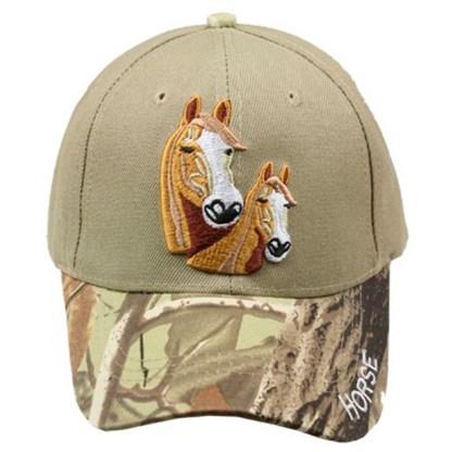 Silver Fever® Classic Baseball Hat 100% Adjustable Unisex Trucker Cap - Made to Last - 2 Horses Camo
