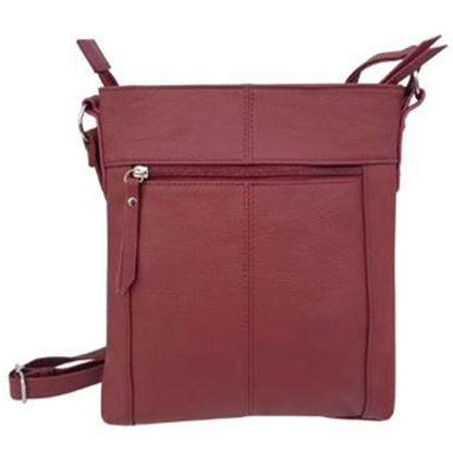 SILVERFEVER Genuine Leather 2 Zip Crossbody Traveler Handbag Purse Wine