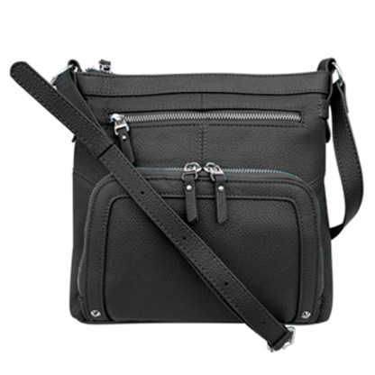 SILVERFEVER Genuine Leather 2 Zip Crossbody Traveler Handbag Purse Black
