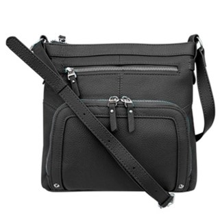 SILVERFEVER Genuine Leather 2 Zip Crossbody  Traveler Handbag Purse Black
