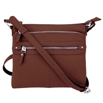SILVERFEVER Genuine Leather 2 Zip Crossbody  Traveler Handbag Purse Brown