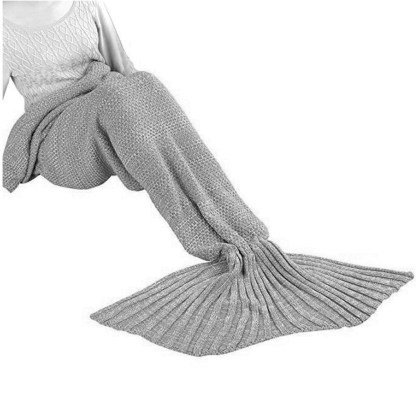 SILVEREFEVER Handmade High Density Thick Mermaid Blanket, Soft Warm for All Seasons, Sweet Gift- Grey Fish Scale Knit