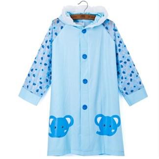SILVERFEVER Rain Coat Kids Cartoon Characters Thick Raincoat Rain Poncho For Girls Boys With School Bag Cover - Blue Elephant