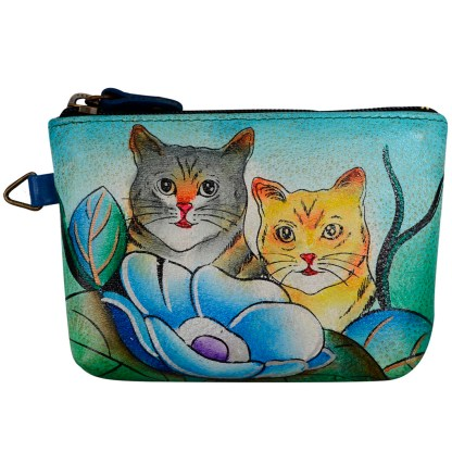 Anna by Anuschka Leather Medium Coin Pouch Wallet - Two Cats
