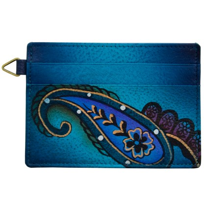 Anna by Anuschka Leather Slim Credit Case Wallet - Denim Paisley Floral
