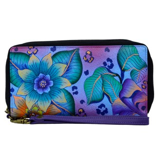 Anna by Anuschka Leather Zip Around Clutch Wristlet Wallet Tropical Safari