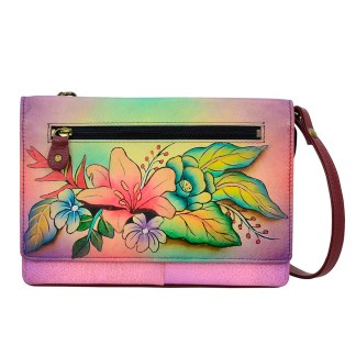 Anna by Anuschka Leather Wallet - Flap Closure - Cross Body Removable Strap Tropical Bouque