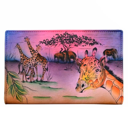 Anna by Anuschka Leather By Fold Wallet Clutch Serengeti Sunset