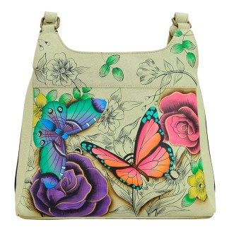 Anna by Anuschka Leather Hand Painted Medium Shoulder Hobo Handbag  Floral Paradise Vertical