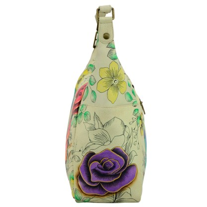 Anna by Anuschka Leather Hand Painted Medium Shoulder Hobo Handbag Floral Paradise Side Pockets
