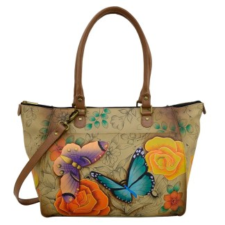 Anna by Anuschka Leather Hand Painted Tote Handbag ,Floral Paradise Shopper