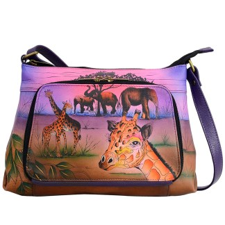 Anna by Anuschka Leather East West Shoulder Crossbody Handbag Serengeti Sunset Organizer