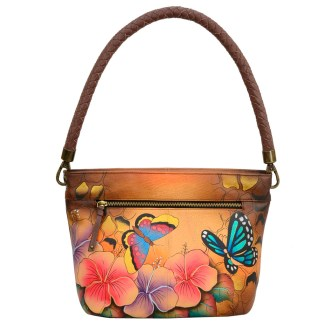 Anna by Anuschka Leather Hand Painted Medium Shoulder Hobo Handbag  Animal Hibiscus Braided Handle