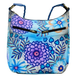 Anna by Anuschka Leather Hand Painted Medium Shoulder Hobo Handbag  Summer Bloom Blue Tall