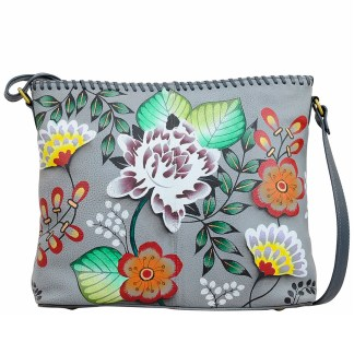 Anna by Anuschka Leather Hand Painted Tote Handbag ,Garden of Eden Shoulder Convertible