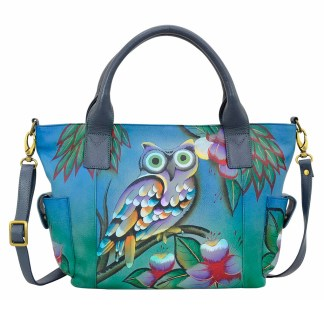 Anna by Anuschka Leather Hand Painted Tote Handbag ,Midnight Owl W Side Poackets