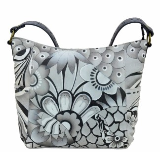Anna by Anuschka Leather Hand Painted Medium Shoulder Hobo Handbag Patchwork Pewter Tall w Whipstitch Details