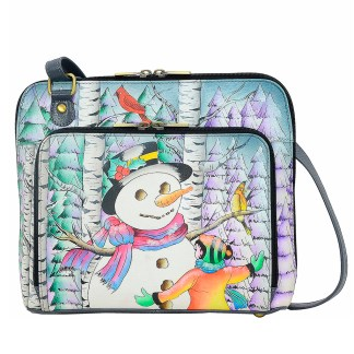 Anna by Anuschka Leather Medium Shoulder Crossbody Handbag Boy And The Snowman Zip Around Zip Around