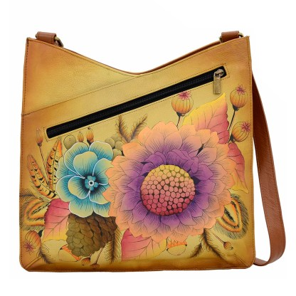 Anna by Anuschka Leather Hand Painted Medium Shoulder Hobo Handbag Rustic Bouquet V Top