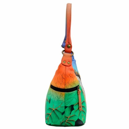 Anna by Anuschka Leather Hand Painted Medium Shoulder Hobo Handbag Zebra Safari Side Zip Pockets