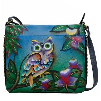 Anna by Anuschka Leather Medium Shoulder Crossbody Handbag Midnight Owl Expendable Expendable