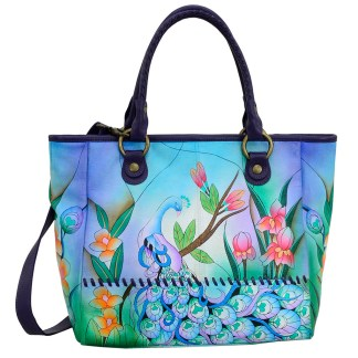 Anna by Anuschka Leather Hand Painted Tote Handbag ,Midnight Peacock W Braided Handle