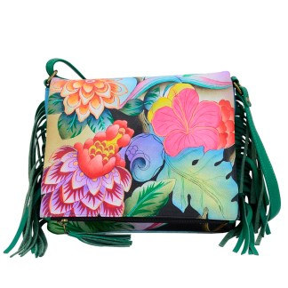 Anna by Anuschka Leather East West Shoulder Crossbody Handbag Whimsical Garden Fringed