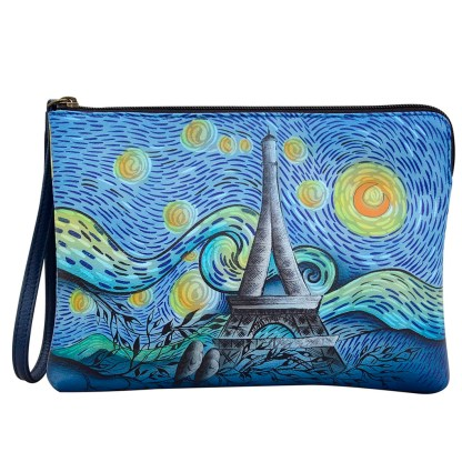 Anna by Anuschka Leather Zip Around Clutch Wristlet Wallet Love in  Paris-8349