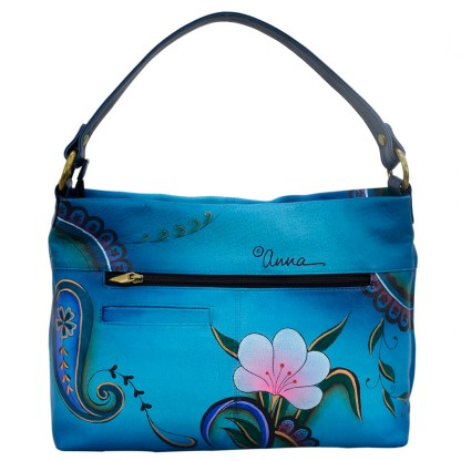 Anna by Anuschka Leather Hand Painted Medium Shoulder Hobo Handbag Danim Paisley Floral Large E-W