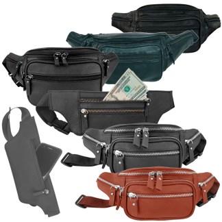 Silver Fever Genuine Leather Fanny Pack Waist Bag Phone Holder  Money Belt