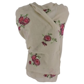 SILVERFEVER Floral Embroidery Light Scarf Shawl Wrap - Roses on Beige