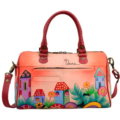 Anna by Anuschka Leather Hand Painted Satchel Handbag ,Village of Dreams-Large Round