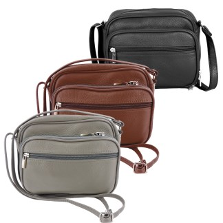 SILVERFEVER Genuine Leather French Kiss Cross Body Organizer Handbag Purse Accordion